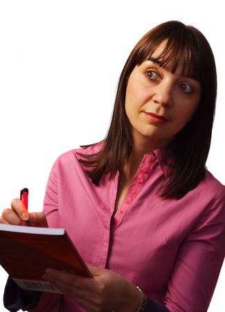 observes: Woman takes notes and observes, isolated over white