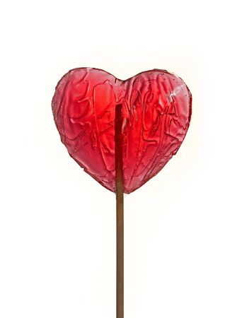 Heart shape red lollipop isolated over white background