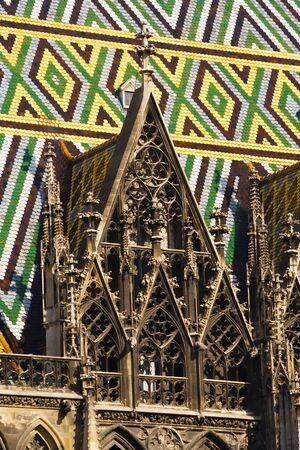 Detail of Vienna cathedral gothic architecture and patterned colorful roof Zdjęcie Seryjne