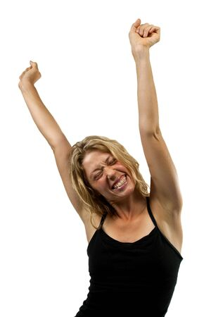 Happy woman cheers with hands in the air, streches