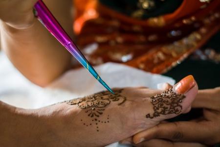 On the  Night of Mehndi  the bride Zdjęcie Seryjne