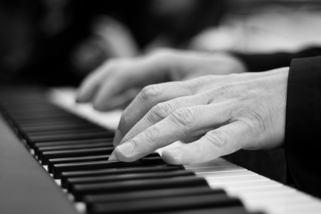 Close-up on a pianist