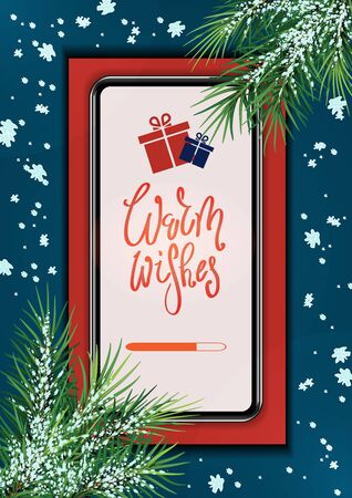 Christmas gifts and presents concept, using mobile smartphone for searching gifts and purchasing. big smartphone with branches of a Christmas tree and wishes on the screen.Vector illustration. Eps 10.