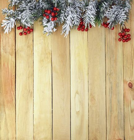 Snow-covered branches of a Christmas tree and red berries. Christmas background in a rustic style. top view. New Year background.