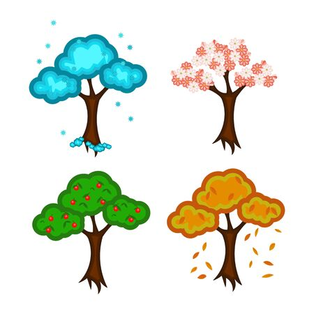 Four seasons. Painted trees: winter, spring, summer, autumn. Isolated on white background without shadow.Vector, illustration.