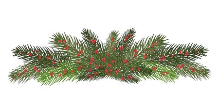 A long garland of fir branches. Christmas decor of natural elements. Drawing. Isolated . New Year.Vector illustration. Eps 10.