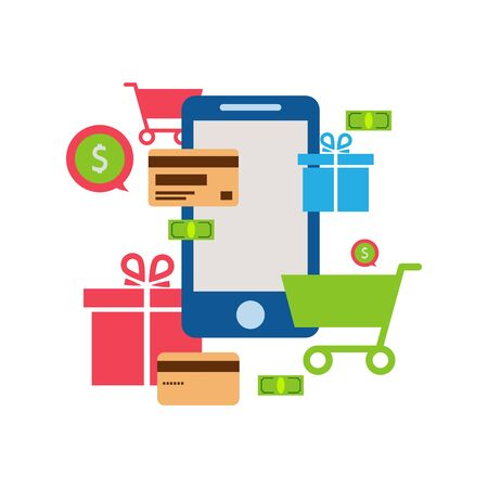 Mobile online store , smartphone , cart : concept of mobile phone order, purchase, internet shop showcase, ecommerce
