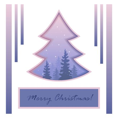 Christmas tree . Mysterious snow-covered forest. The charm of the winter nature. Vector. Eps 10. Postcards. Festive background. Vettoriali