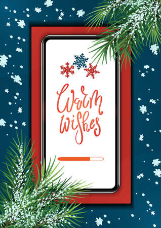 Christmas gifts and presents concept, using mobile smartphone for searching gifts and purchasing. big smartphone with branches of a Christmas tree and wishes on the screen.