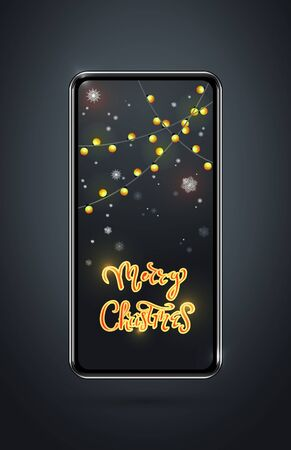 Christmas gifts and presents concept, using mobile smartphone for searching gifts and purchasing ,as well as the congratulations of friends . big smartphone with garlands and wishes on the screen.