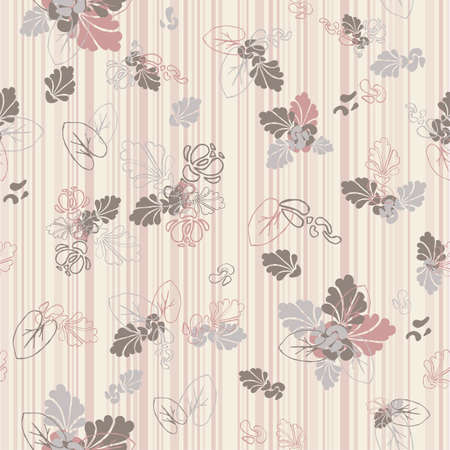 Cute seamless floral texture on a striped background./ two seamless textures inside/ . Vector illustration.