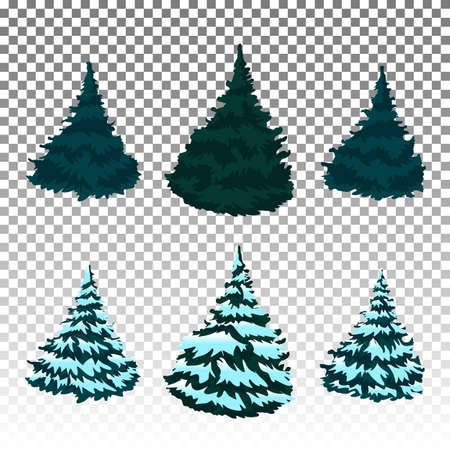Firs In The Snow A Set Of Christmas Trees With Snow Isolated Royalty Free Cliparts Vectors And Stock Illustration Image 151003727