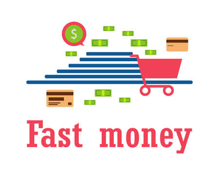 concept: quick money for shopping, gifts, send, pay, delivery. Modern technologies. vector illustration. Eps 10.