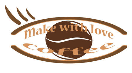 make with love coffee - the concept of a quality drink. Coffee grain and inscription. A cafe. Banner Zdjęcie Seryjne