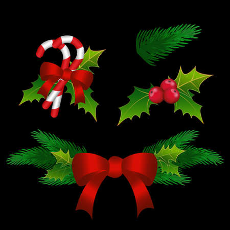 Merry Christmas design. Christmas tree wreath garland decoration of holly, fir branch, for New Year celebration season.
