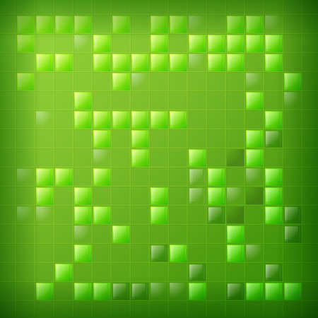 Green background with glass squares. A party. Light and shine. Night party. Holiday background.