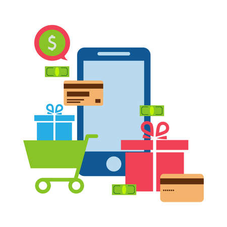 Mobile online store, smartphone, cart: concept of mobile phone order, purchase, internet shop showcase, ecommerce. Zdjęcie Seryjne
