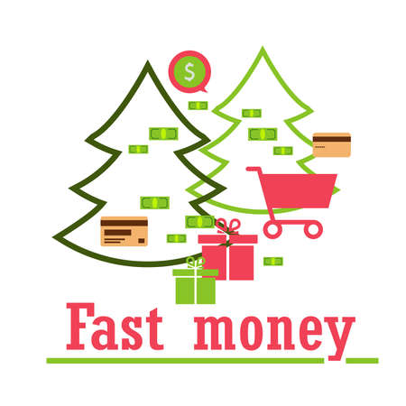 concept: quick money for shopping, gifts, send, pay, delivery. Modern technologies. Zdjęcie Seryjne