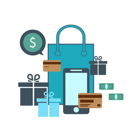 credit card and smartphone. The concept of online shopping. Holiday shopping. sales. E-commerce. Vector illustration. Ilustracja