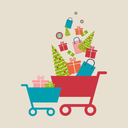Concept of online shop, e-commerce store, internet shop vector illustration, isolated, smartphone as e-commerce online store with shopping cart .Christmas shopping. Vector illustration. Ilustracja