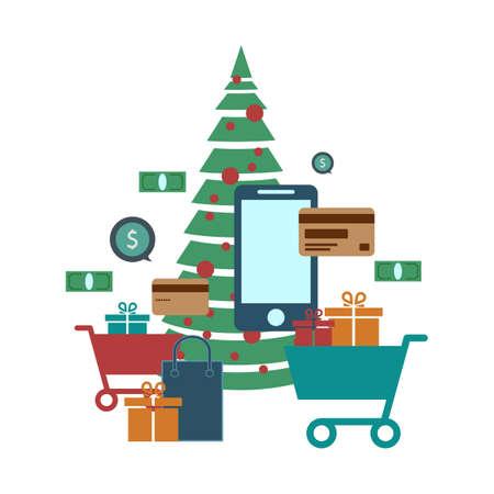 Concept of online shop, e-commerce store, internet shop vector illustration, smartphone as e-commerce online store. Christmas shopping. Vector illustration. Ilustracja