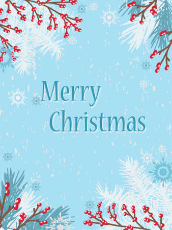 Snow-covered branches of a Christmas tree and red berries on a golb background. Christmas decor. Card. New Year. Winter background. Drawing.