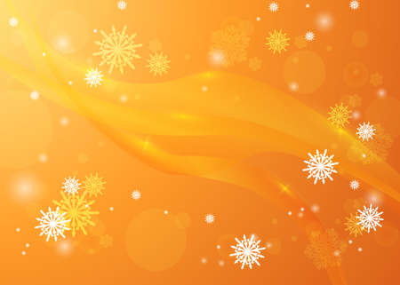 Golden winter background. Snowfall and festive lights. Christmas background. New Year.