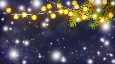 Blue Christmas night. Christmas tree branches and festive lights. Christmas garlands and snow. Christmas background. New Year background. Close-up.