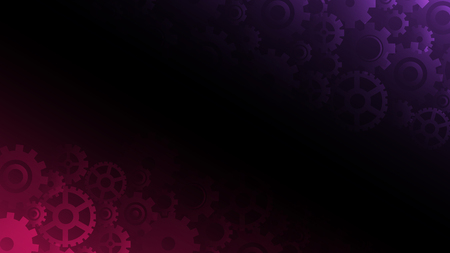 Abstract dark violet and pink gears background, vector illustration
