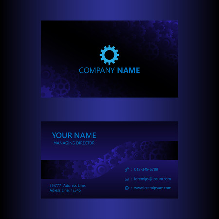 Dark blue business card template gears background engineer and dark blue business card template gears background engineer and mechanical concept visiting card vector cheaphphosting Gallery