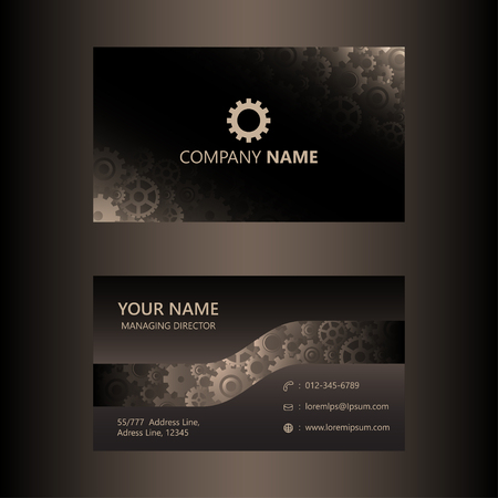 Dark brown business card template gears background, engineer and mechanical concept, visiting card vector illustration.