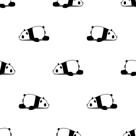 Lazy panda cartoon seamless pattern on white background, vector