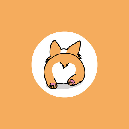 Puppy dog lying down from back view, corgi butt icon, vector