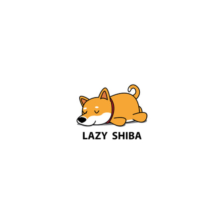 Lazy dog, cute shiba inu puppy sleeping icon, design, vector illustration