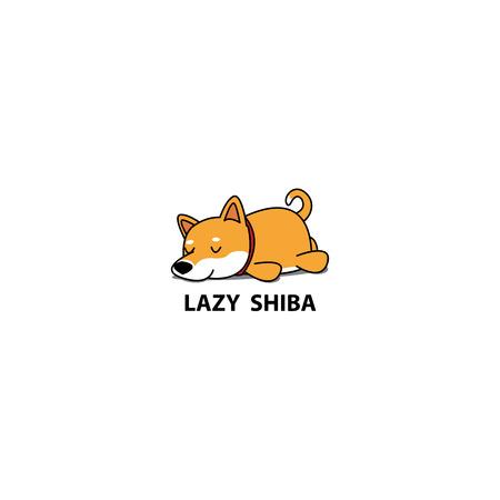 Lazy dog, cute shiba inu puppy sleeping icon, design, vector illustration