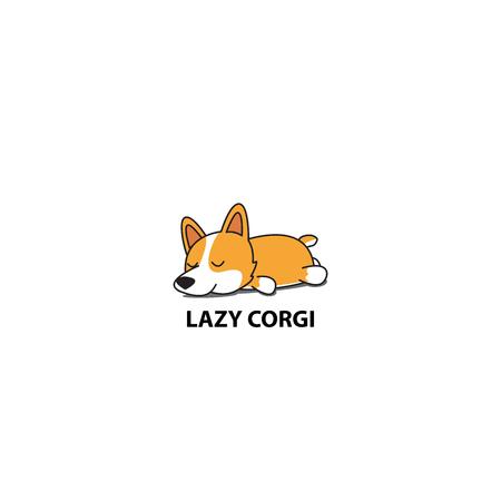 Lazy corgi, cute puppy sleeping icon, logo design, vector illustration.