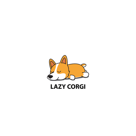 Lazy corgi, cute puppy sleeping icon, logo design, vector illustration.