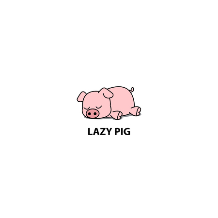 Lazy pig vector illustration 矢量图像