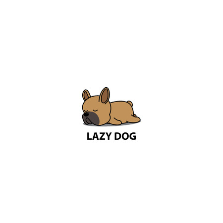 Lazy dog, cute brown french bulldog puppy sleeping icon, logo design, vector illustration