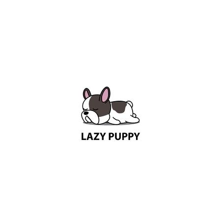 Lazy dog, cute french bulldog puppy sleeping icon, logo design, vector illustration.