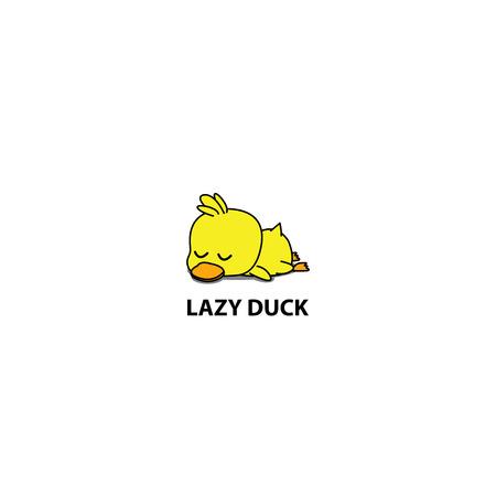 Luie eend, schattige eendje slapen pictogram, logo-ontwerp, vectorillustratie Stockfoto - 98270336