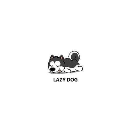 Lazy dog, cute Siberian husky puppy sleeping icon, vector illustration 일러스트