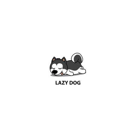 Lazy dog, cute Siberian husky puppy sleeping icon, vector illustration