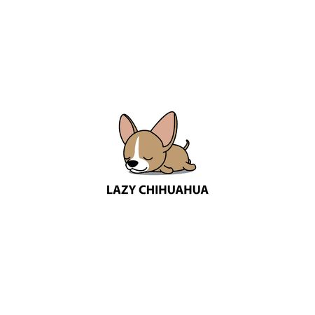 Lazy dog, cute chihuahua puppy sleeping icon design illustration.