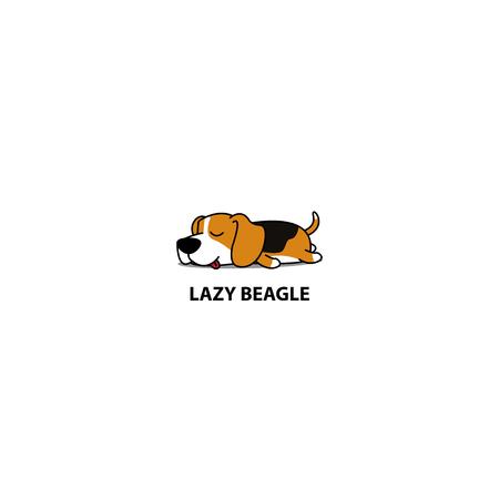 Lazy dog, cute beagle puppy sleeping icon, logo design, vector illustration