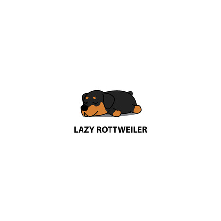 Lazy dog, cute rottweiler puppy sleeping icon, logo design, vector illustration