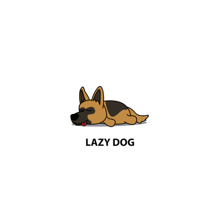 Lazy dog, cute german shepherd sleeping icon, logo design, vector illustration Illustration