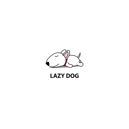 Lazy dog, cute bull terrier puppy sleeping icon Illusztráció