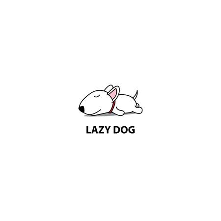 Lazy dog, cute bull terrier puppy sleeping icon Illustration