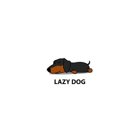 Lazy dog, cute dachshund puppy sleeping icon, logo design, vector illustration